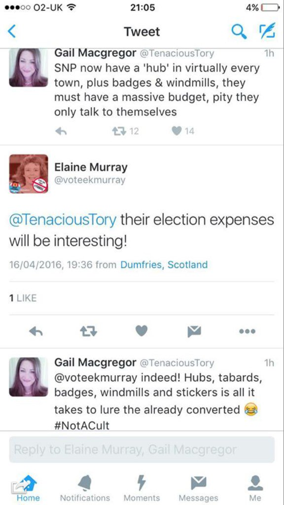 Labour candidate & Tory councillor have moan-in about @theSNP's strength in Dumfriesshire hilarious!  #windmillenvy https://t.co/3DTvCg1PUf
