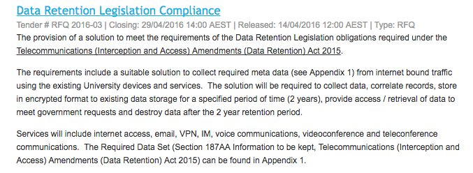 What does data retention look like? Here's a tender from an Australian university. https://t.co/gcLnC7aBED