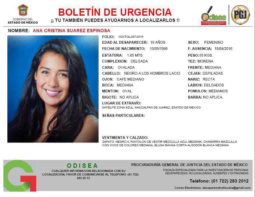 Les pido su apoyo para DIFUNDIR el boletín de Ana Cristina Suárez Espinosa quien se extravió en #Satélite #Naucalpan https://t.co/FHSVRj1gnw