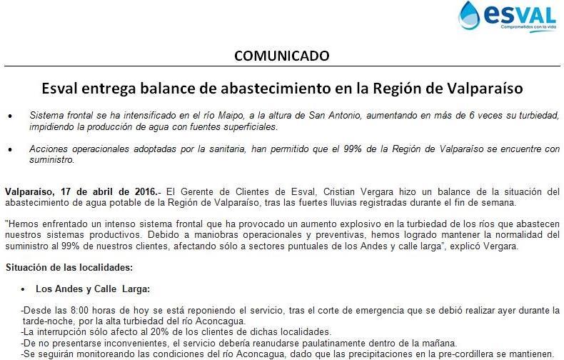 Reiteramos: sólo hay corte (desde las 14:00) en El Tabo, El Quisco y Algarrobo. El resto de la región en normalidad https://t.co/URVnYX6Xet