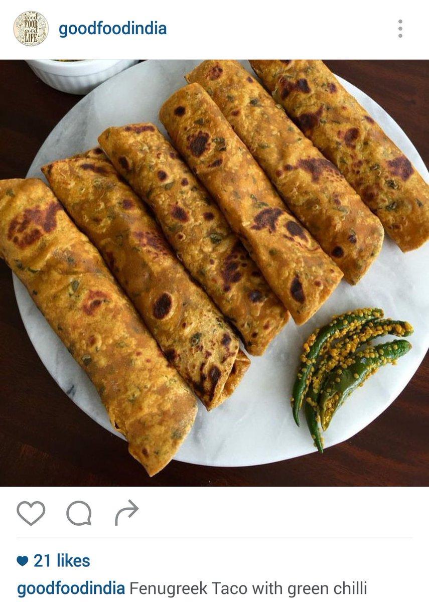In real life : Methi thepla  On instagram : Fenugreek taco https://t.co/qsjbhDd0pK