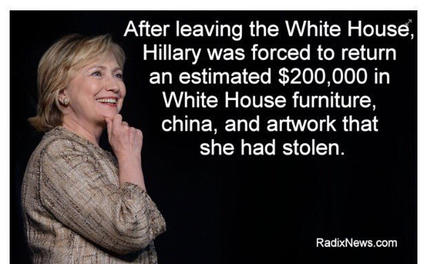 Hillary is the only 1st lady to be subpoenaed, fingerprinted by the FBI & stole over $200K worth of stuff from WH���� https://t.co/fy4yYwxYEc