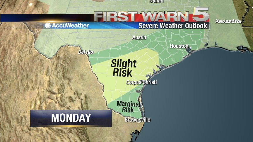 (8:47PM) Marginal risk of severe weather for the Valley on Monday. Main threats are damaging winds and hail. https://t.co/KA1ClhEg4D