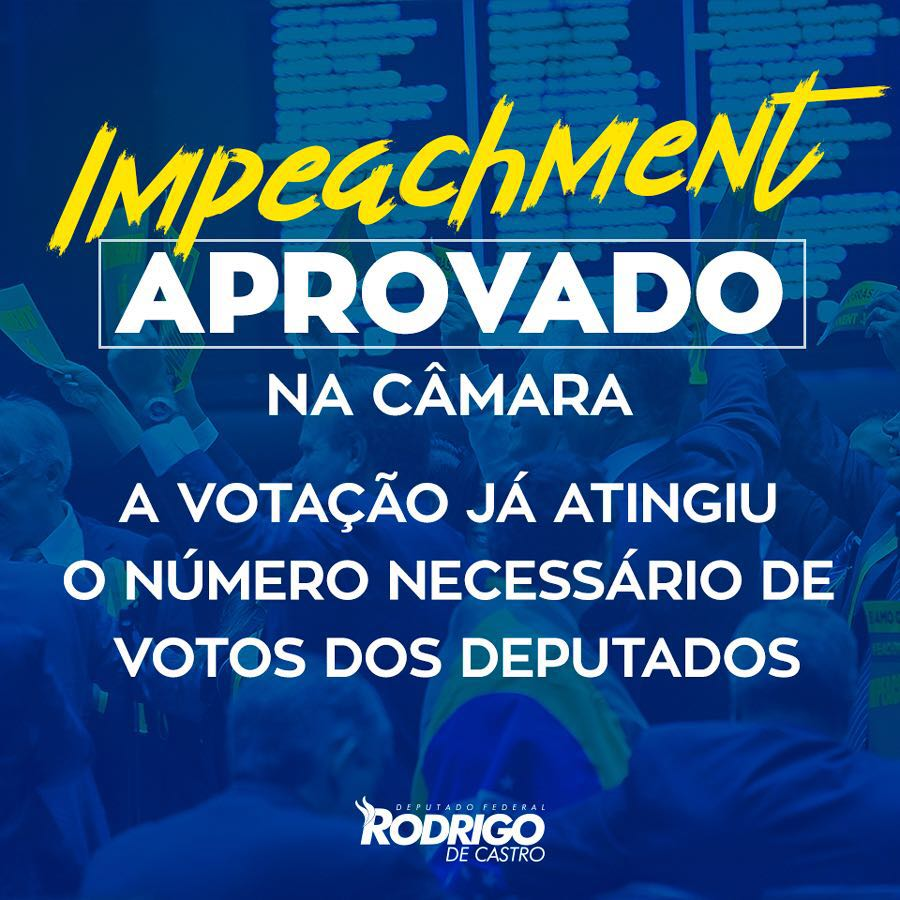 A voz das ruas foi ouvida! O impeachment vai para o Senado que irá decretar o fim deste Governo! #Impeachment https://t.co/kPSBGfedn7