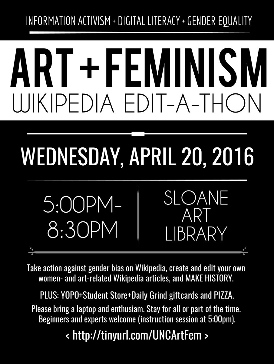 This Wednesday: Pizza, internet activism, and fab females #wikiNC #artandfeminism
