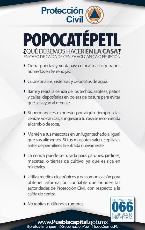 Toma precauciones y sigue las recomendaciones que nos da @protcivilmunpue por la caída de ceniza del #Popocatepetl https://t.co/tmefGdCKCa