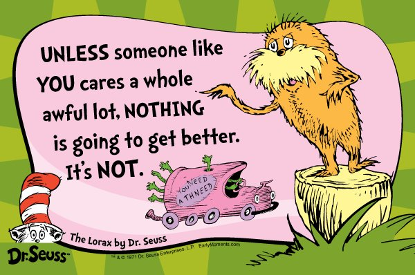"Friday is Earth Day!  Share to show the Lorax how you care ""a whole awful lot"" #earthday #lorax https://t.co/I3C39sW6O8"