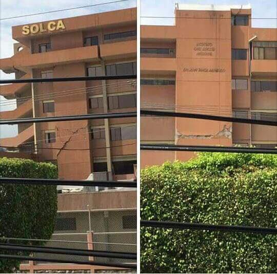Así luce el edificio de #Solca pacientes están siendo atendidos en el parqueadero #TerremotoEcuador https://t.co/ea9oCa8iqA