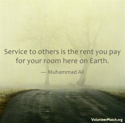 """Service to others is the rent you pay for your room here on Earth."" — Muhammad Ali #MotivationMonday #Inspiration https://t.co/mRbP2UEY4W"