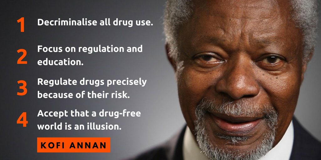 20 years ago, @KofiAnnan led the UN in aiming for a 'drug-free world'. Now accepts that is an illusion #UNGASS2016 https://t.co/jr9YWuAawt