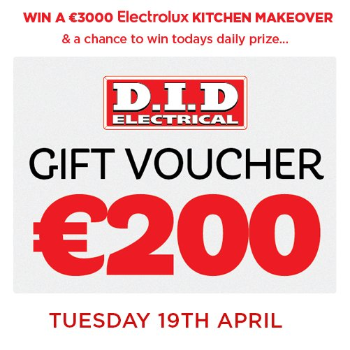 Spend €100 in-store or online to enter the draw for one of 23 kitchen makeovers and daily prizes! #tuesdaytreat https://t.co/s71hCpdnVW