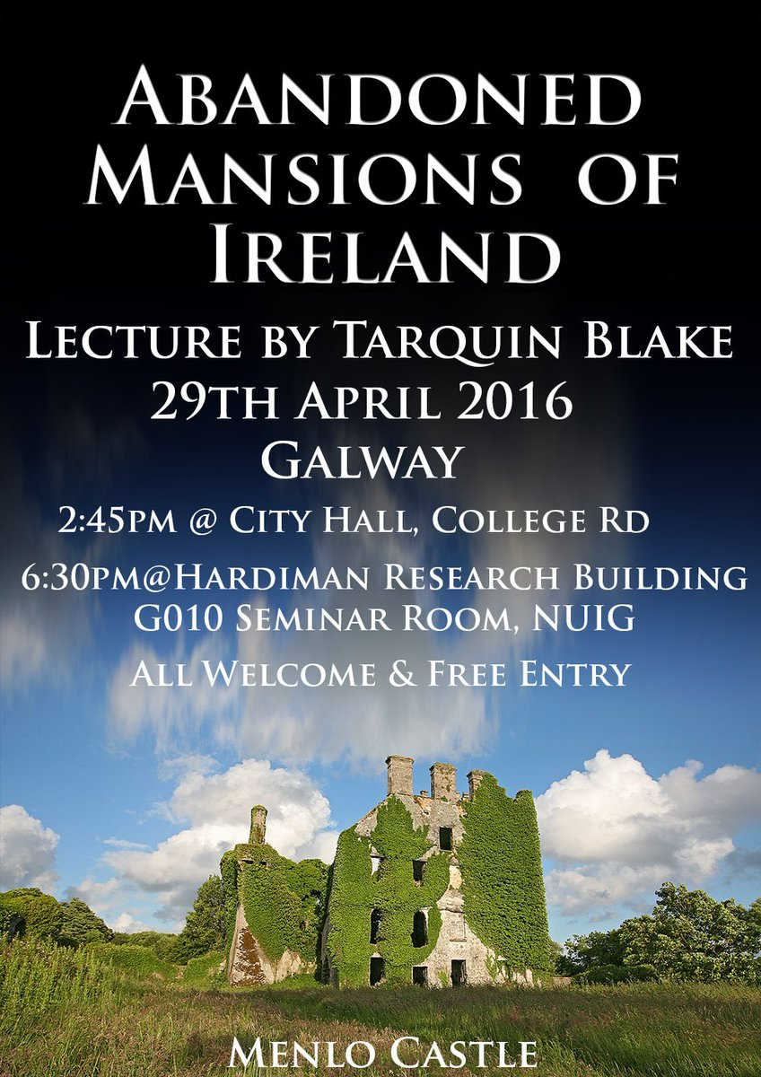 Hi Everyone! We've arranged a talk w/ author Tarquin Blake/Abandoned Ireland Please join us if you can! #galwayhour https://t.co/omzb7R0nY2