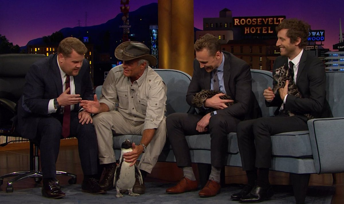 Thanks @JKCorden for having me on @latelateshow again! @twhiddleston & @Middleditch were naturals w/ the leopards! https://t.co/70TgO7qJD5