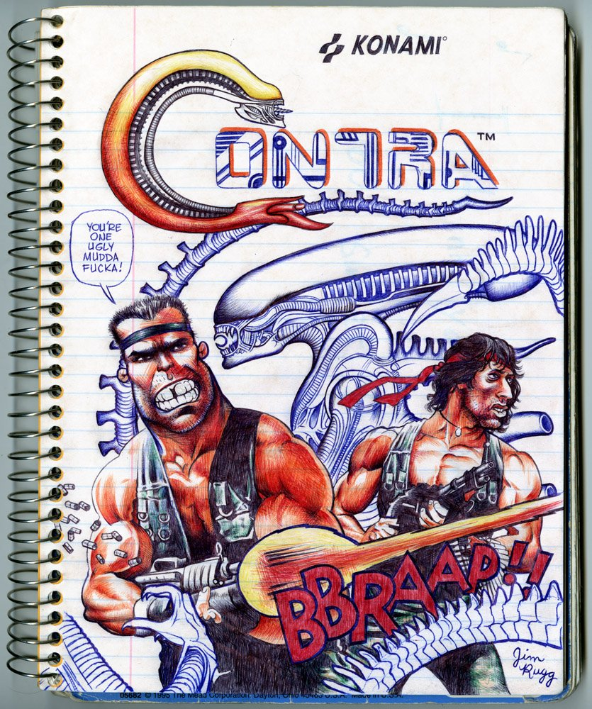 Contra ballpoint pen notebook drawing #alienday https://t.co/KsnWBPdsZv