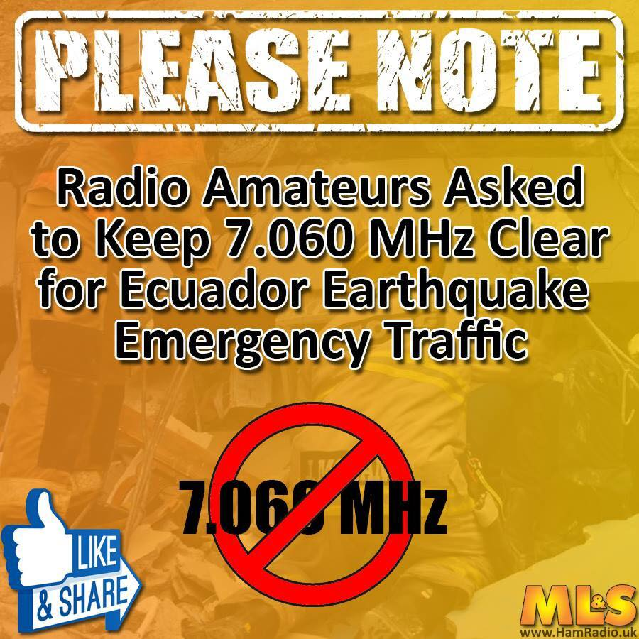 A reminder: all #HamRadio ops are asked to keep 7.060 MHz clear for #EcuadorEarthquake search & rescue comms. https://t.co/PDegWBw3DW