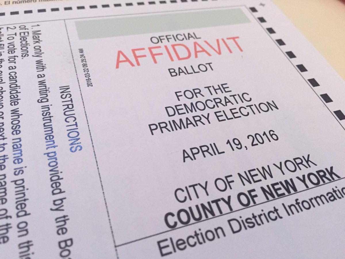 NY: Go vote! Remember, if they can't find your name you have a right to vote via affidavit ballot! #PrimaryDay https://t.co/Q2V5gDcJCL