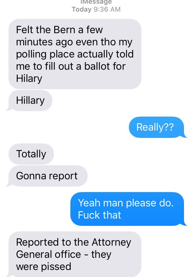 Good friend reports shenanigans at his polling place. #PrimaryDay #NYPrimary #FeelTheBern https://t.co/iyosMetHiU