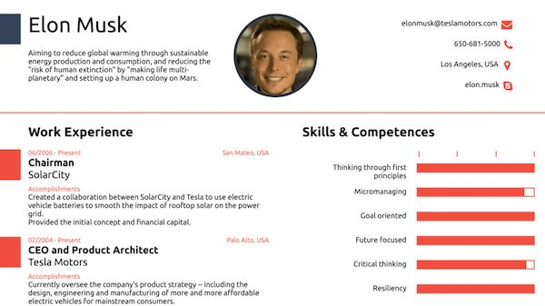 résumé for elon musk founder of tesla motors spacex fits all