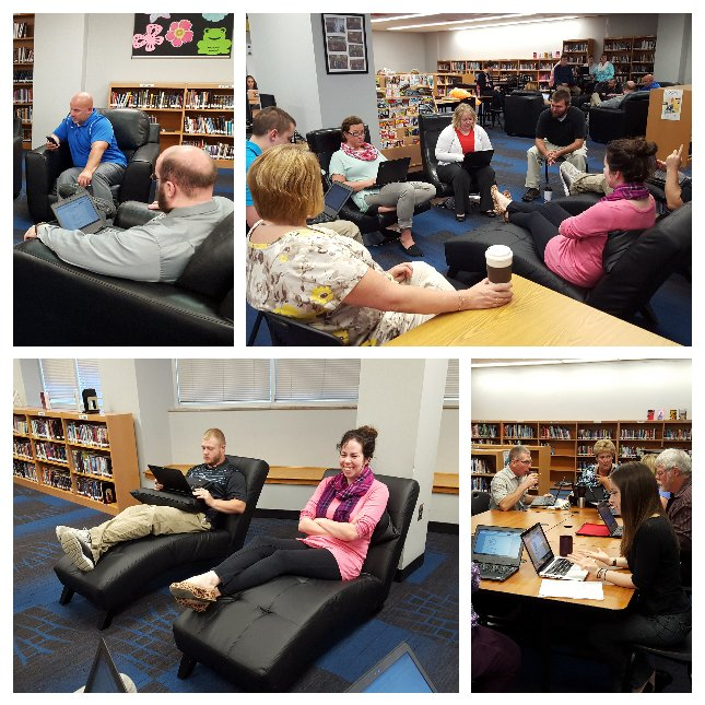"""""""The"""" CHS staff  professional development using new media center furniture.  #TheCHS #21stcenturylearningspaces https://t.co/3Ex3AObaRS"""