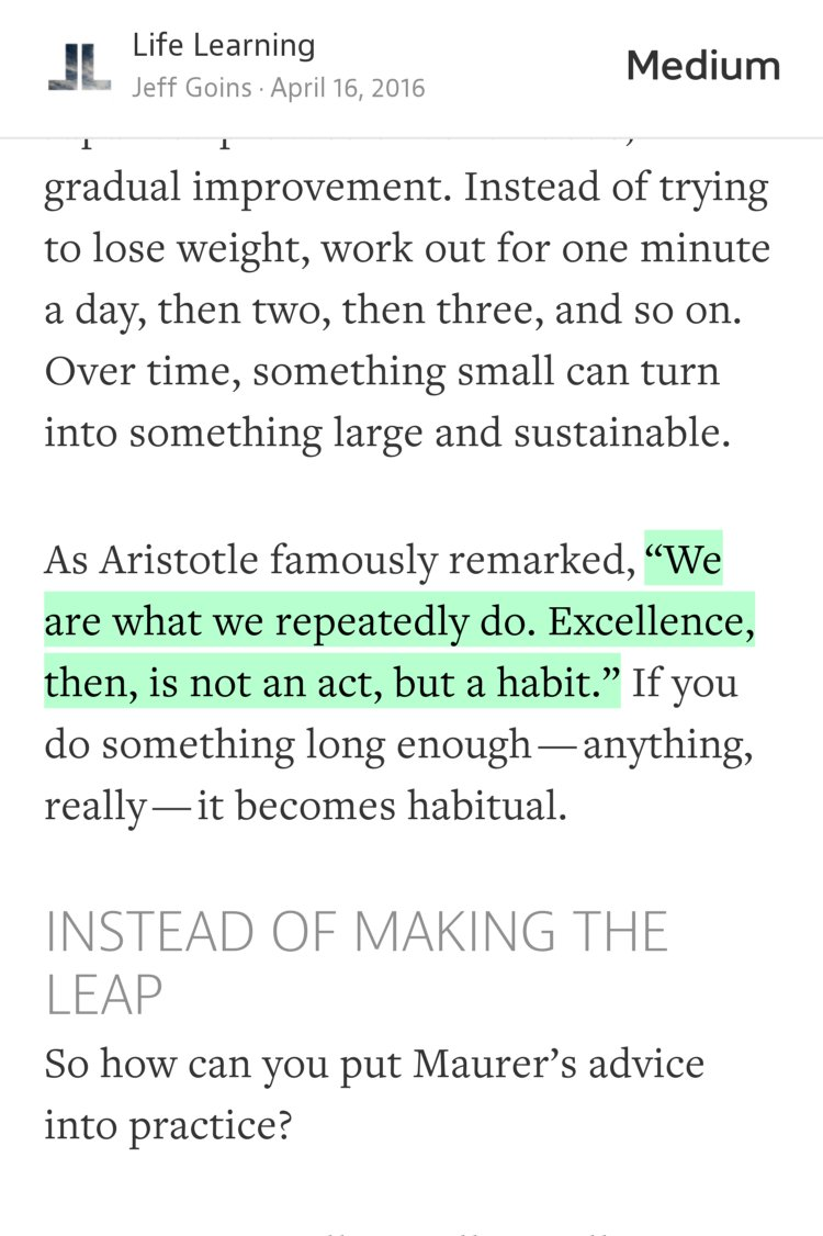"""'We are what we repeatedly do. Excellence, then, is not an act, but a habit.'"" — @JeffGoins https://t.co/aQPAoN8mVH https://t.co/fZxgz6YPHi"