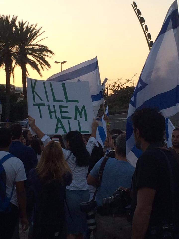 "Message of  the new Israeli justice & equality: ""kill them all"" in tel aviv rally supporting a  murderer soldier https://t.co/t9CqN777ya"