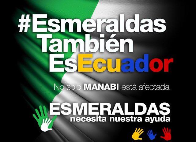 No nos olvidemos q #Esmeraldas también necesita ayuda.El epicentro del terremoto fue en Muisne. #TodosSomosEcuador https://t.co/BSYfue1Ose