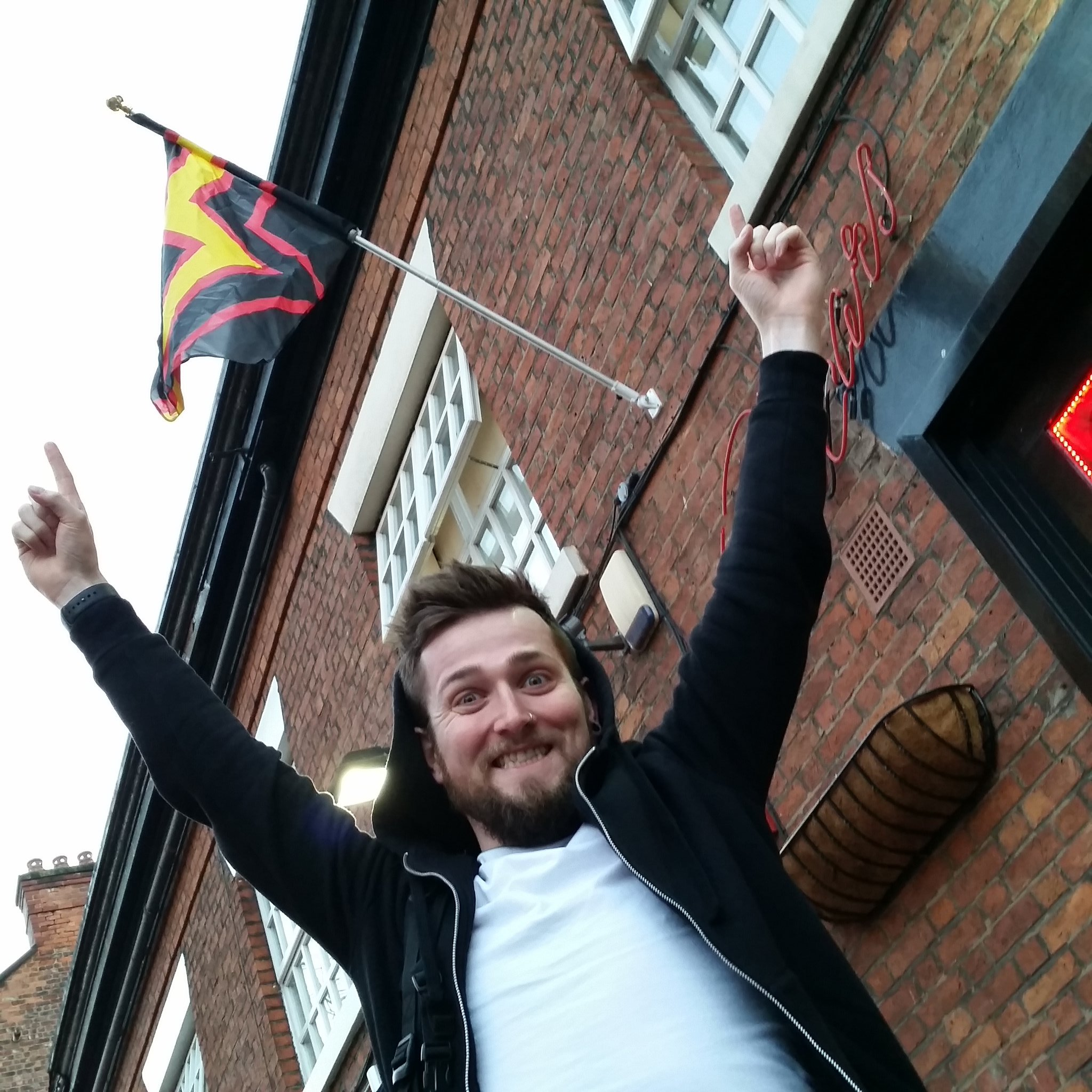 RT @MancRubMen: The first of the flags has been spotted up in the village! #MRM7 https://t.co/XWFr9HtnNa