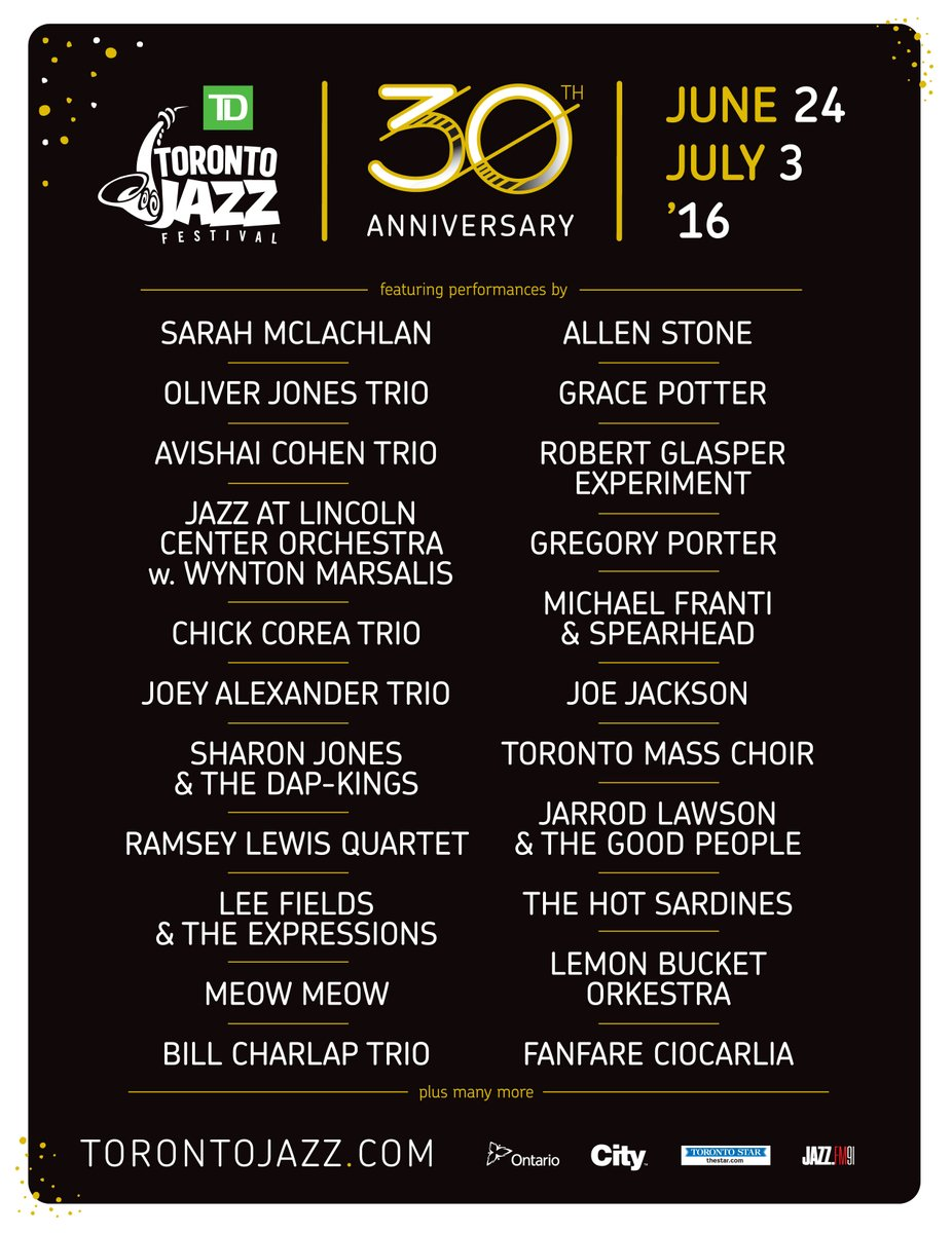 ICYMI earlier today we announced our lineup for our 30th edition! Tix on sale tmrw at 10am. #TDMusic #TOJazz2016 https://t.co/Smbhp2mKwP