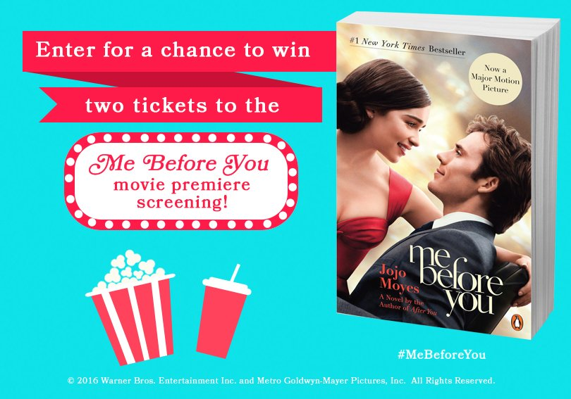 Hey @JojoMoyes fans: Want to win a trip to NYC for the @MeBeforeYou premiere? Enter here: https://t.co/f0qG7h5hVc https://t.co/6u5Dea6UHL