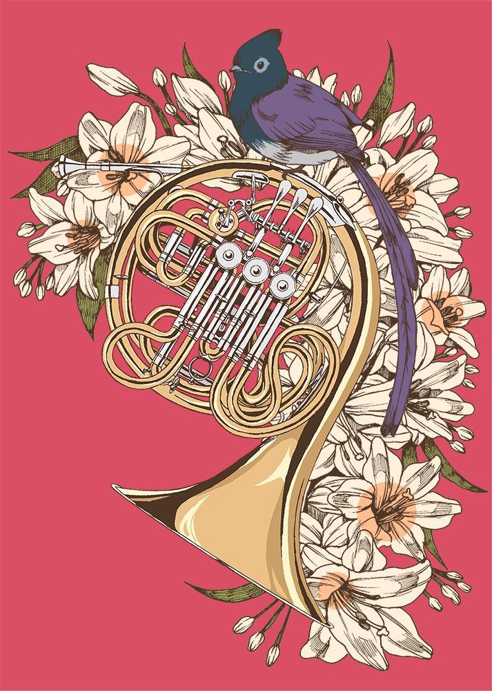 楽器シリーズの新作です。 ホルンにサンコウチョウ https://t.co/JLDEjU2MgQ