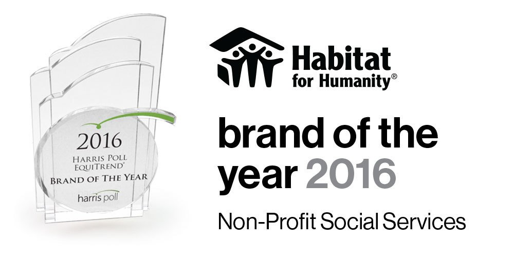 "Good news! #Habitat has been named the 2016 Social Services Nonprofit ""Brand of the Year"" by @HarrisPoll EquiTrend. https://t.co/WZHRAihDod"