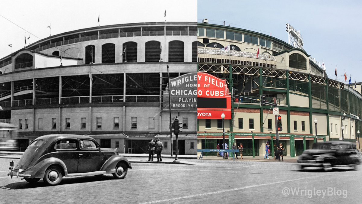 100 years ago today, the Chicago @Cubs played their 1st home game at (present day) Wrigley Field. https://t.co/vusOHrV8ut
