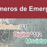 Números de Emergencia #Venezuela Movilnet *1 / Movistar *911 / Digitel *112 0800-lluvia: 0800-558.842 Bomberos: 171 https://t.co/IidyqFXnk9