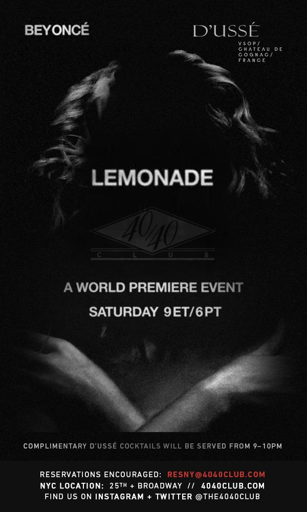 Join us for the world premiere and a special viewing party for #Lemonade this Saturday. #DUSSE #OpenBar, 9-10PM. https://t.co/i52ifTcKtn