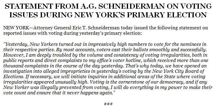 #Breaking: We have opened an investigation into the NYC Board Of Elections https://t.co/2xvVQcjGdh