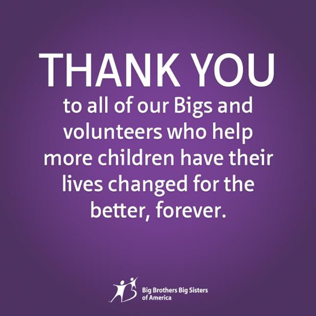 A Big thank you to all of our Bigs & volunteers on this #VolunteerRecognitionDay