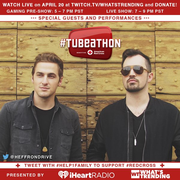 TONIGHT **7:16 p.m. Los Angeles time** @HeffronDrive on #TUBEATHON will be performing!!! #RedCross #Help1Family RT https://t.co/ASffixRvG9
