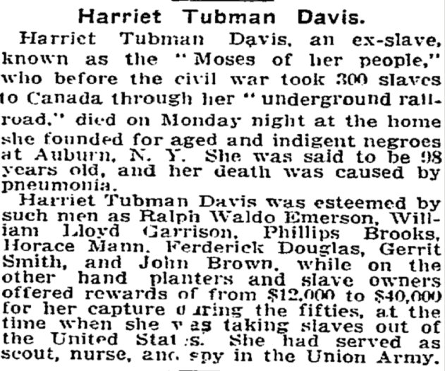 Harriet Tubman's brief death announcement in the @NYTimes in 1913. https://t.co/MicaQQ3yuS https://t.co/jnHHWjdqMn