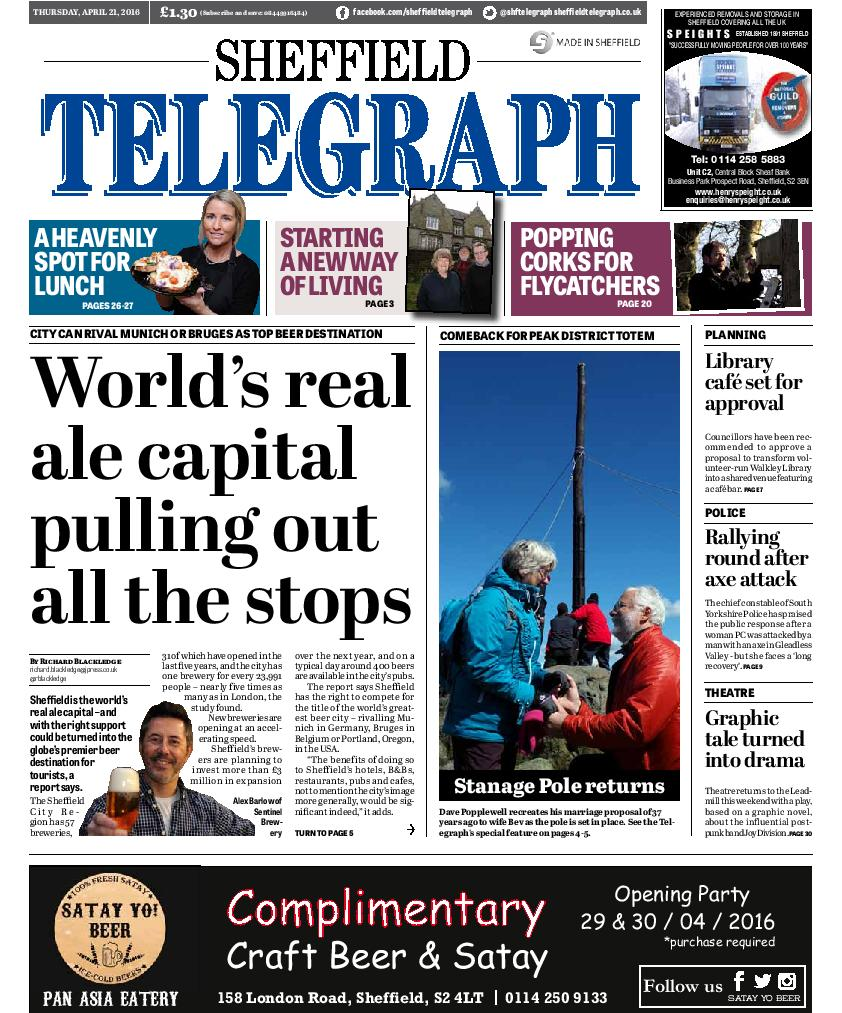 Sheffield is the world's real ale capital, a report says - here's the front of this week's @shftelegraph, out today https://t.co/VldqQQByzX