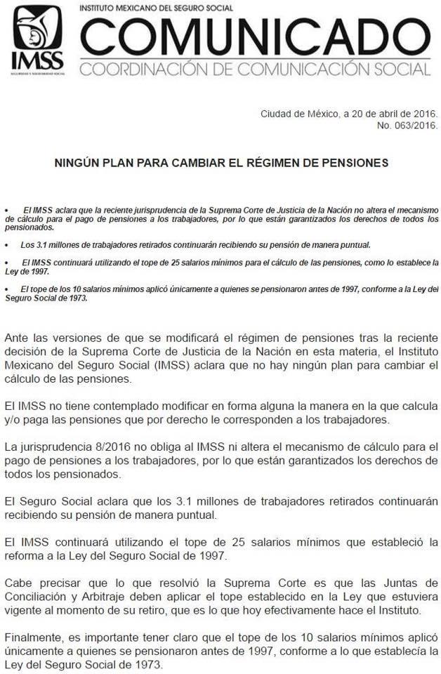 ¡Es oficial! No habrá Tope #pensiones #IMSS el @Tu_IMSS fijo su postura en el siguiente comunicado FAVOR DE DIVULGAR https://t.co/iR308Y2wEp