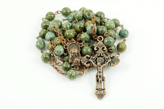 Catholic Rosary Green Brecciated Jasper Copper Traditional Rustic Stone Rosary Beads https://t.co/taYE0meQea https://t.co/65bkIGIVRN