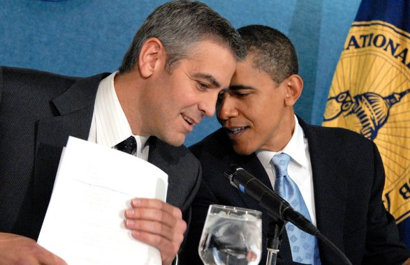 About that time Barack Obama asked George Clooney to shoot hoops with him, super casual: