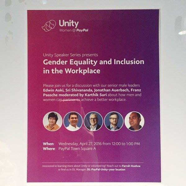 Just saw this @PayPal Unity - Gender Equality & Inclusion talk on 4/27 - All male senior execs on the panel?? https://t.co/LhlkehsK6B