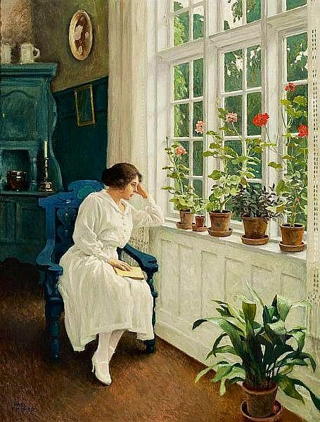 """The Painter's Wife Musse, Sitting at the Window at their Home in Sofievej"" : Paul Gustav Fischer (1860-1934) https://t.co/vpXusZ8PCT"