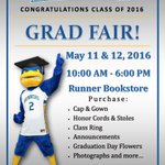 The Grad Fair will be taking place in just a couple weeks. If you havent ordered your cap and gown yet..Be there! https://t.co/QK7EJsVk79
