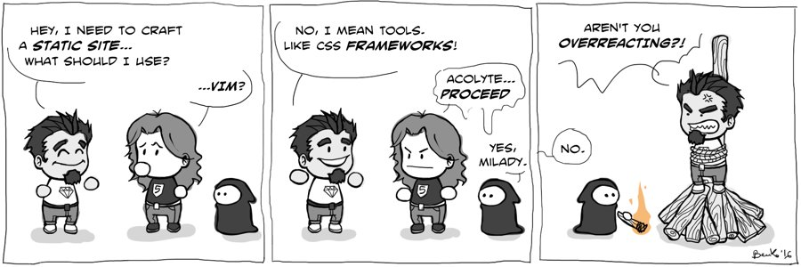 You might not need a CSS framework... @ladybenko shares an opinion: https://t.co/ytpeWCJOfy https://t.co/JkKQlchmb4