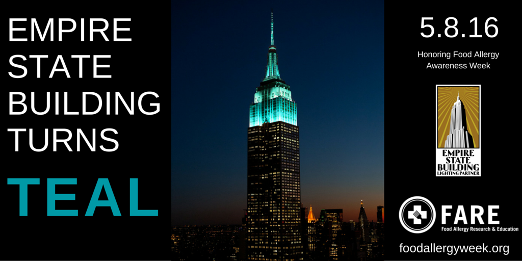 Big news! The @EmpireStateBldg is going TEAL for #FoodAllergyWeek! RT if you're excited! https://t.co/RdFEywCbn7 https://t.co/MSmkBA1xjV