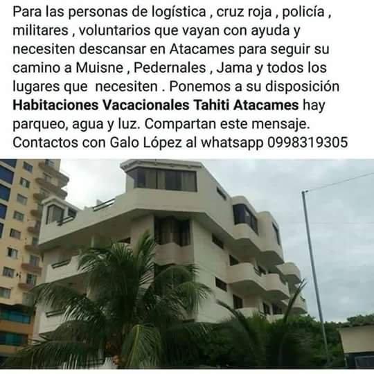 #SeOfrece #Ecuador #sismo Hospedaje en Atacames #Esmeraldas para voluntarios, logística, etc. https://t.co/iDptlQZAqR
