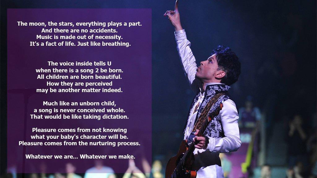 For #Prince songwriting was a compulsion. An unstoppable force, and a great joy. Here's how he described it in 1992. https://t.co/Zfoxrj3jte
