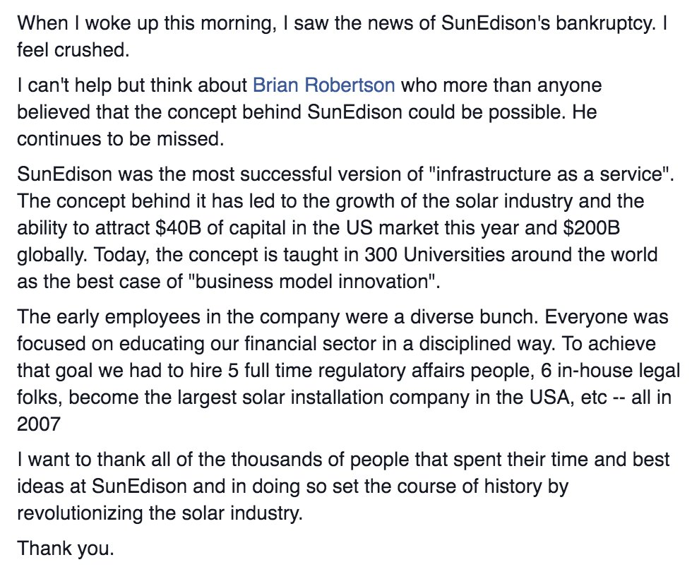 An emotional FB post from SunEdison co-founder @JigarShahDC on the company's bankruptcy filing. (He left in 2008). https://t.co/e6tm0UOyu1